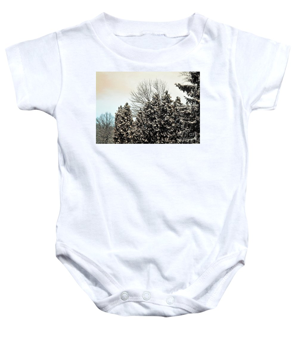 Winter Baby Onesie featuring the photograph Snowy Pines by Judy Wolinsky