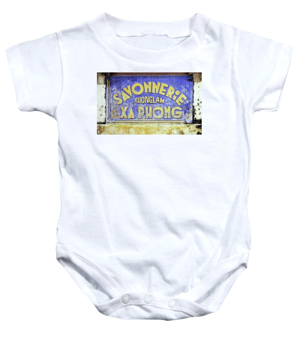 Weathered Baby Onesie featuring the photograph Soap Factory Sign by Rick Piper Photography
