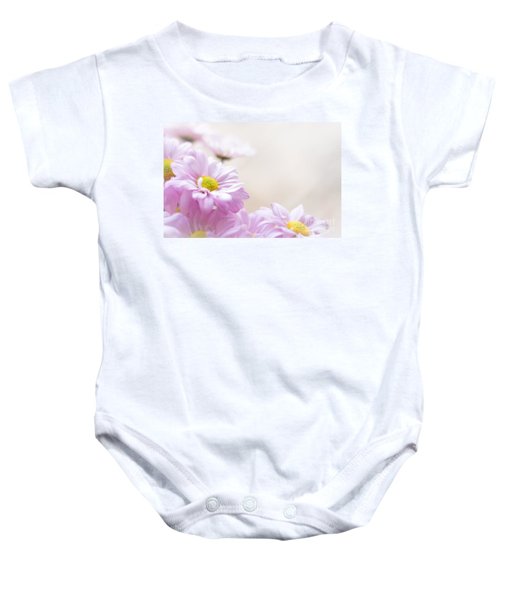 Baby Onesie featuring the photograph Soft Pink Daisies by Cheryl Baxter