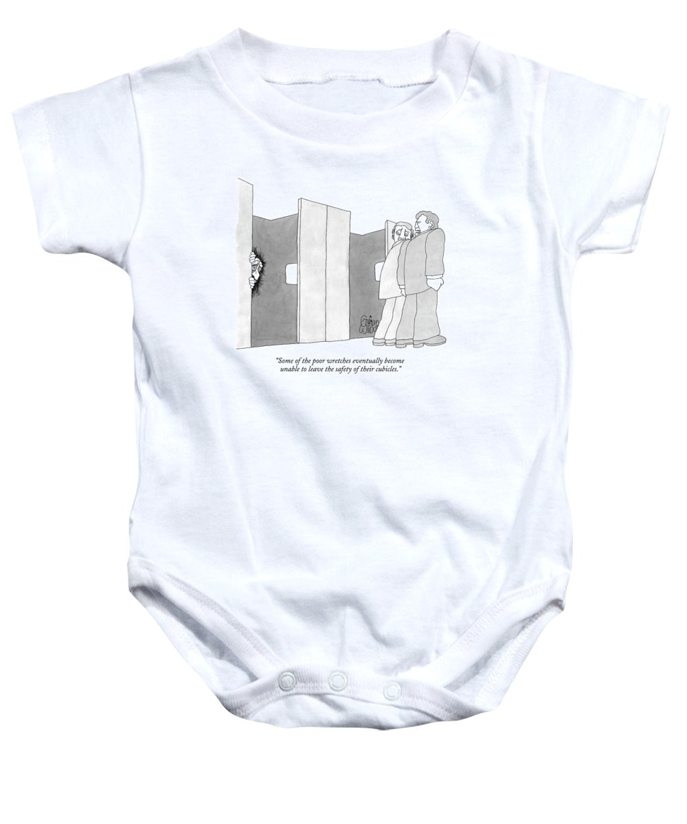 Cubicles Baby Onesie featuring the drawing Some Of The Poor Wretches Eventually Become by Gahan Wilson