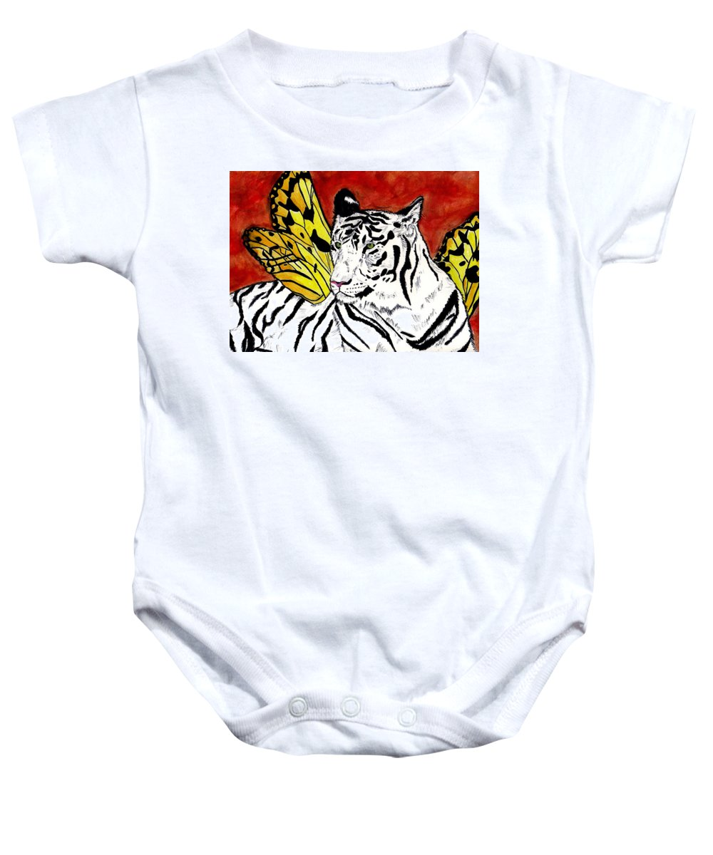 Tiger Baby Onesie featuring the painting Soul Rhapsody by Crystal Hubbard