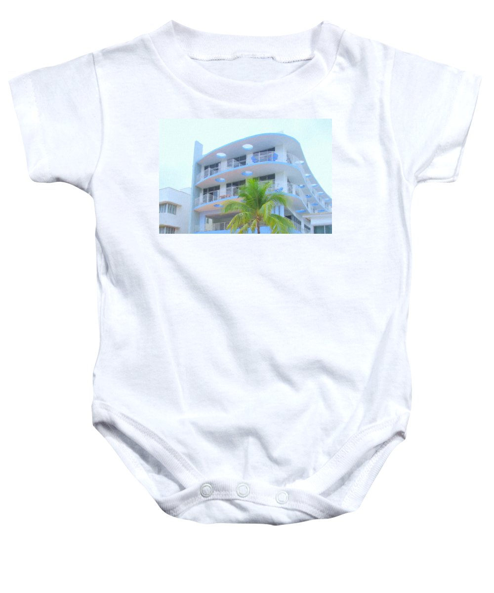 Art Deco Baby Onesie featuring the photograph South Beach Hotel by Tom Reynen