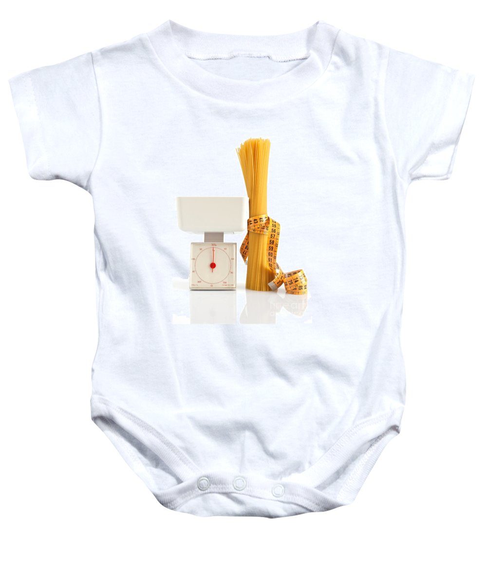 Background Baby Onesie featuring the photograph Spaghetti And Scale by Antonio Scarpi