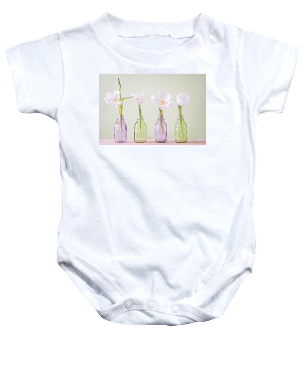 Tulpen Baby Onesie featuring the pyrography Spring In A Bottle by Steffen Gierok