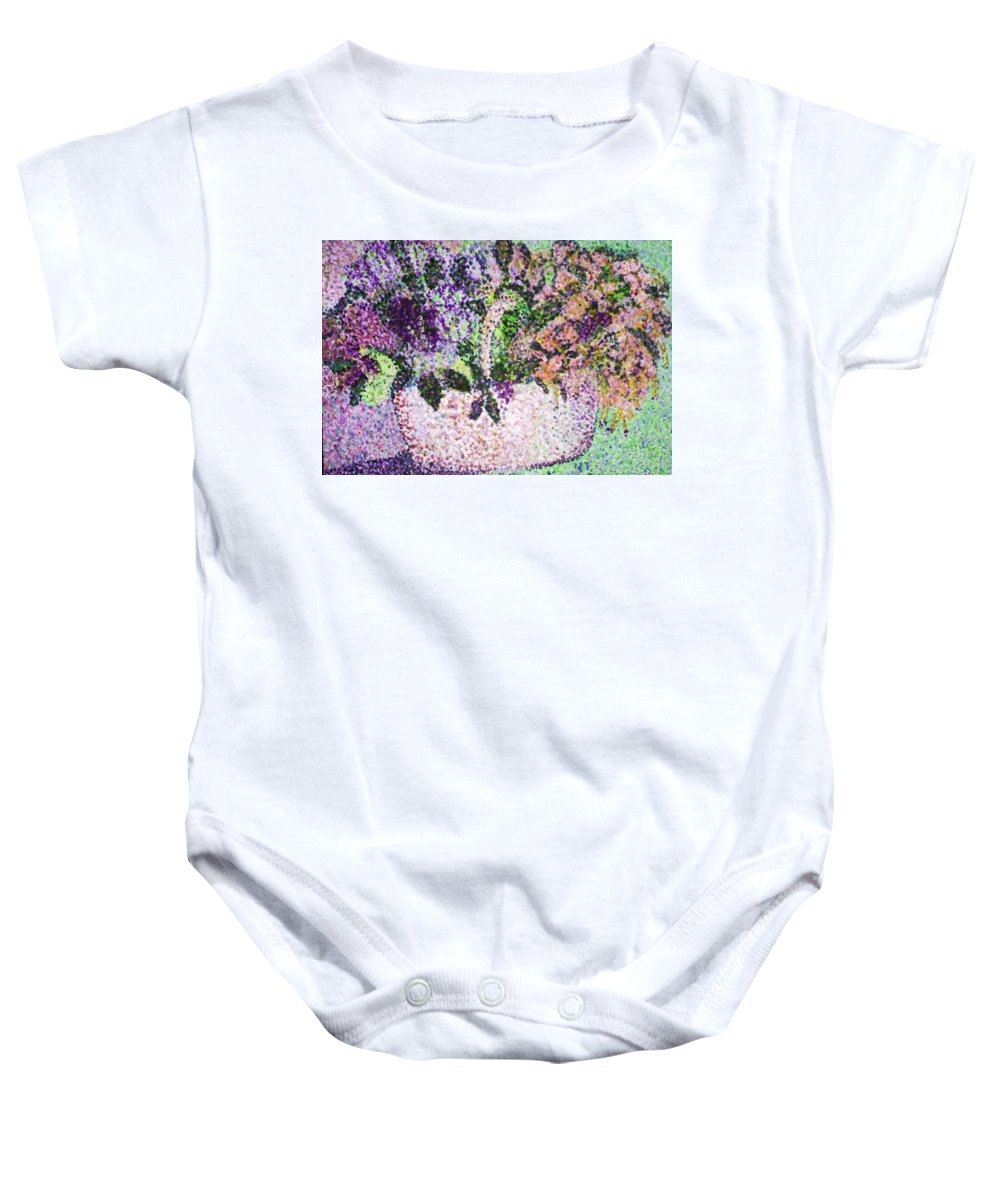 Purple Baby Onesie featuring the painting Springtime Basket by Vickie G Buccini