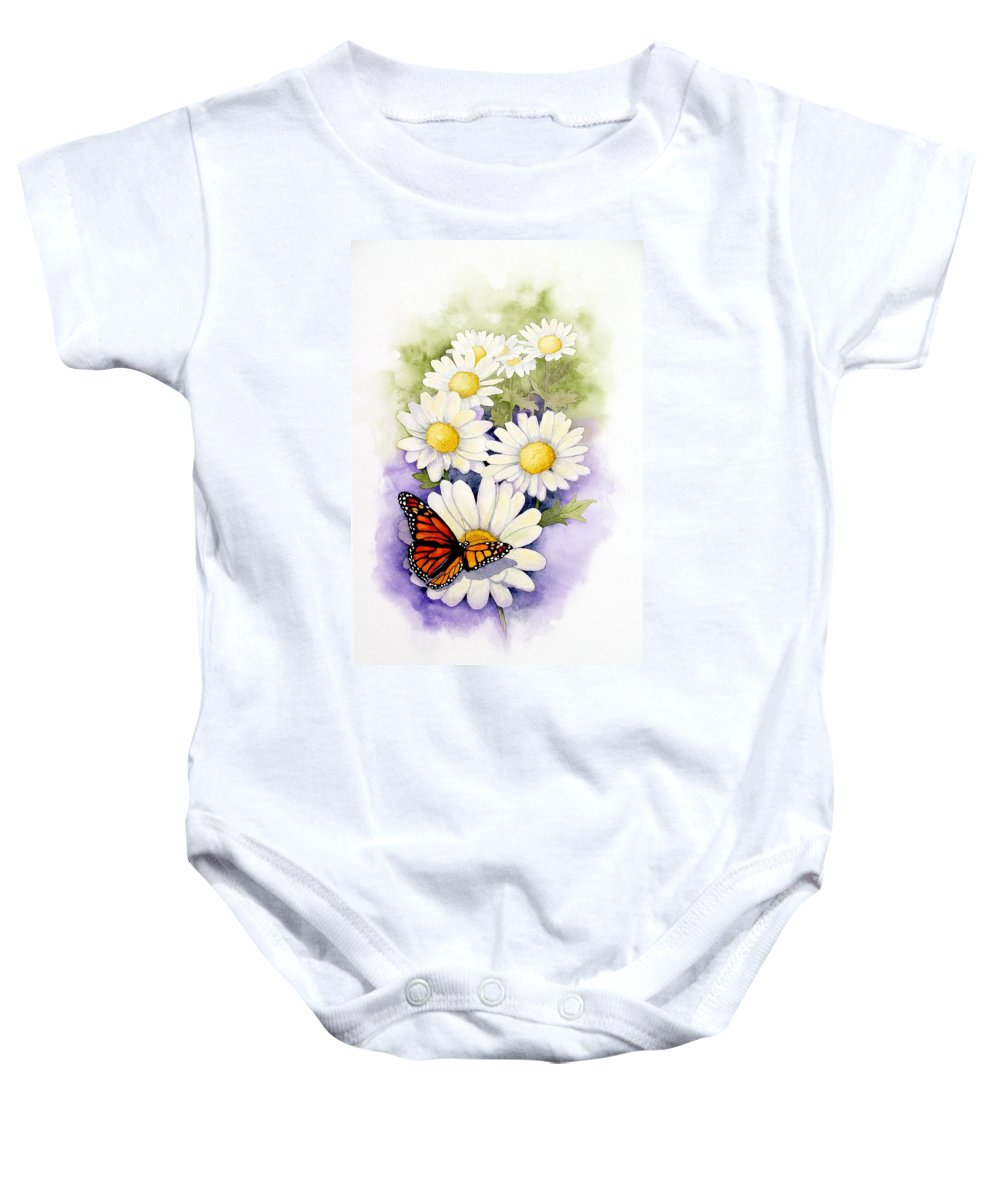 Watercolor Floral Baby Onesie featuring the painting Springtime Daisies by Brett Winn