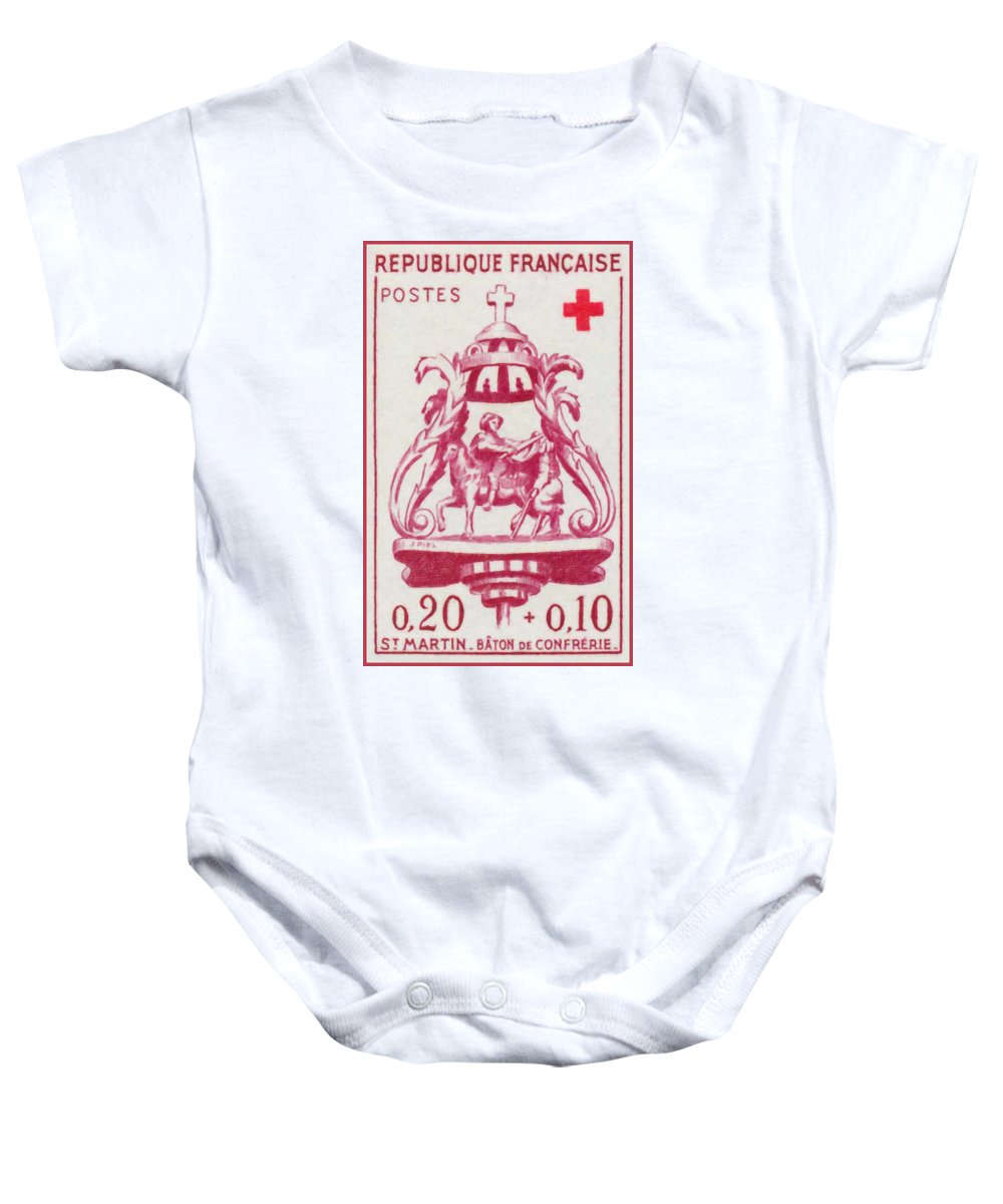 Association Baby Onesie featuring the painting St Martin - Brotherhood Of Stick by Jeelan Clark