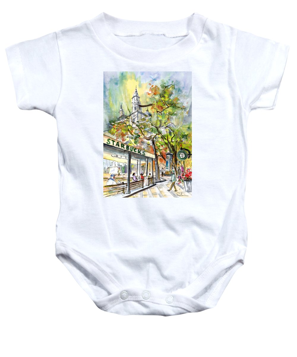Travel Baby Onesie featuring the painting Starbucks Cafe In Budapest by Miki De Goodaboom