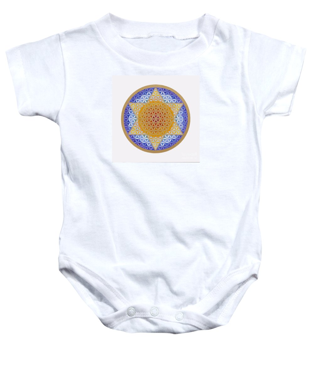 Mandala Baby Onesie featuring the painting Starflower by Mayki Wiberg