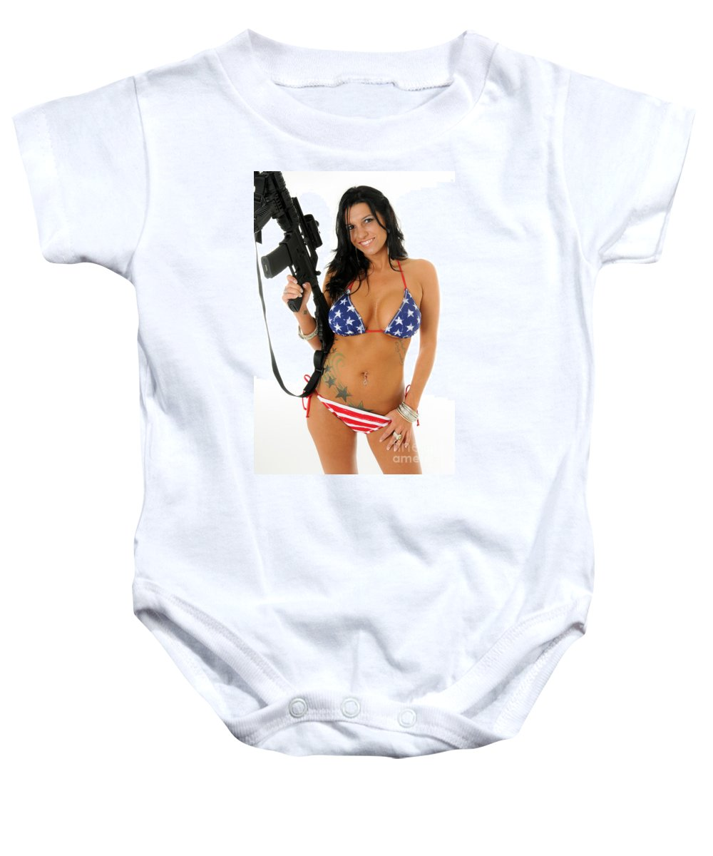 Ar15 Baby Onesie featuring the photograph Stars And Stripes by Jt PhotoDesign