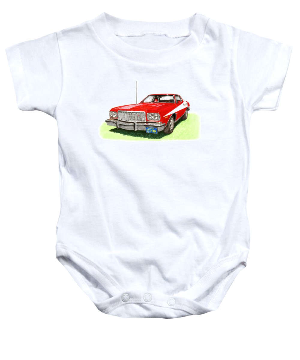 Movie Cars Baby Onesie featuring the painting Starsky Hutch 1974 Ford Gran Torino Sport by Jack Pumphrey