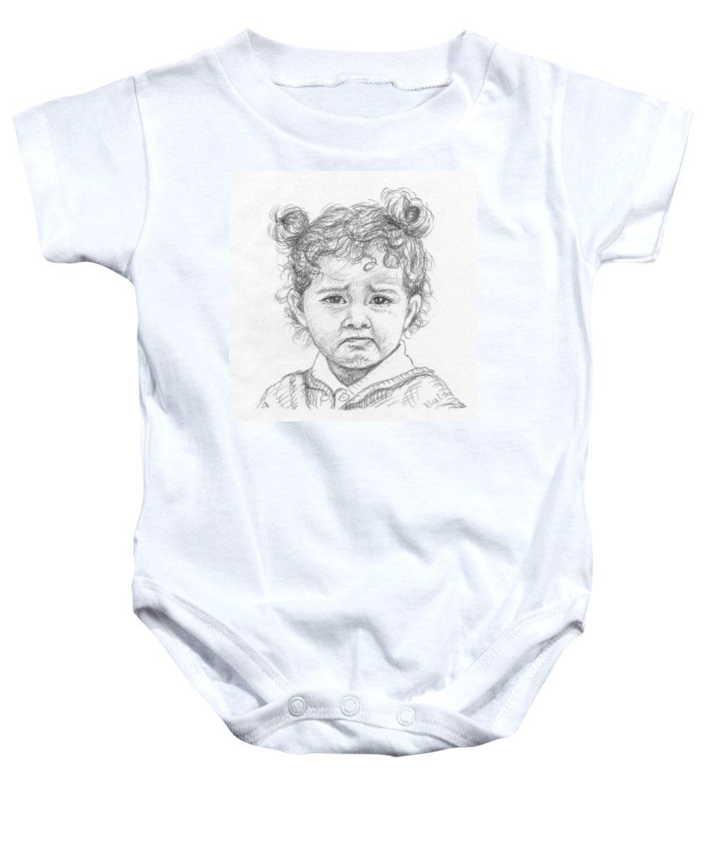 Portrait Baby Onesie featuring the drawing Start Crying by Nicole Zeug