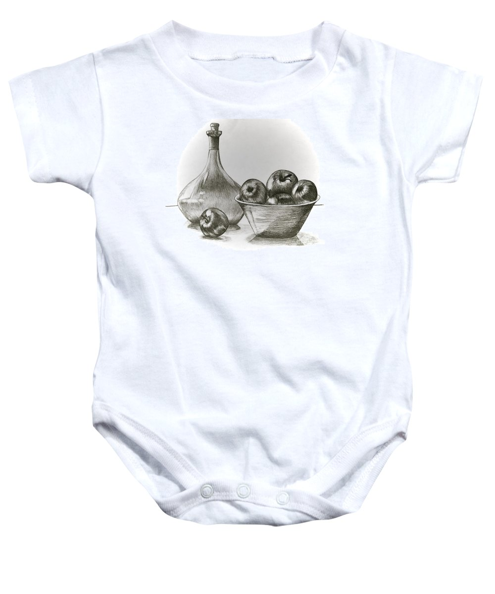 Linda Simon Baby Onesie featuring the drawing Stealing Of The Orchard by Linda Simon