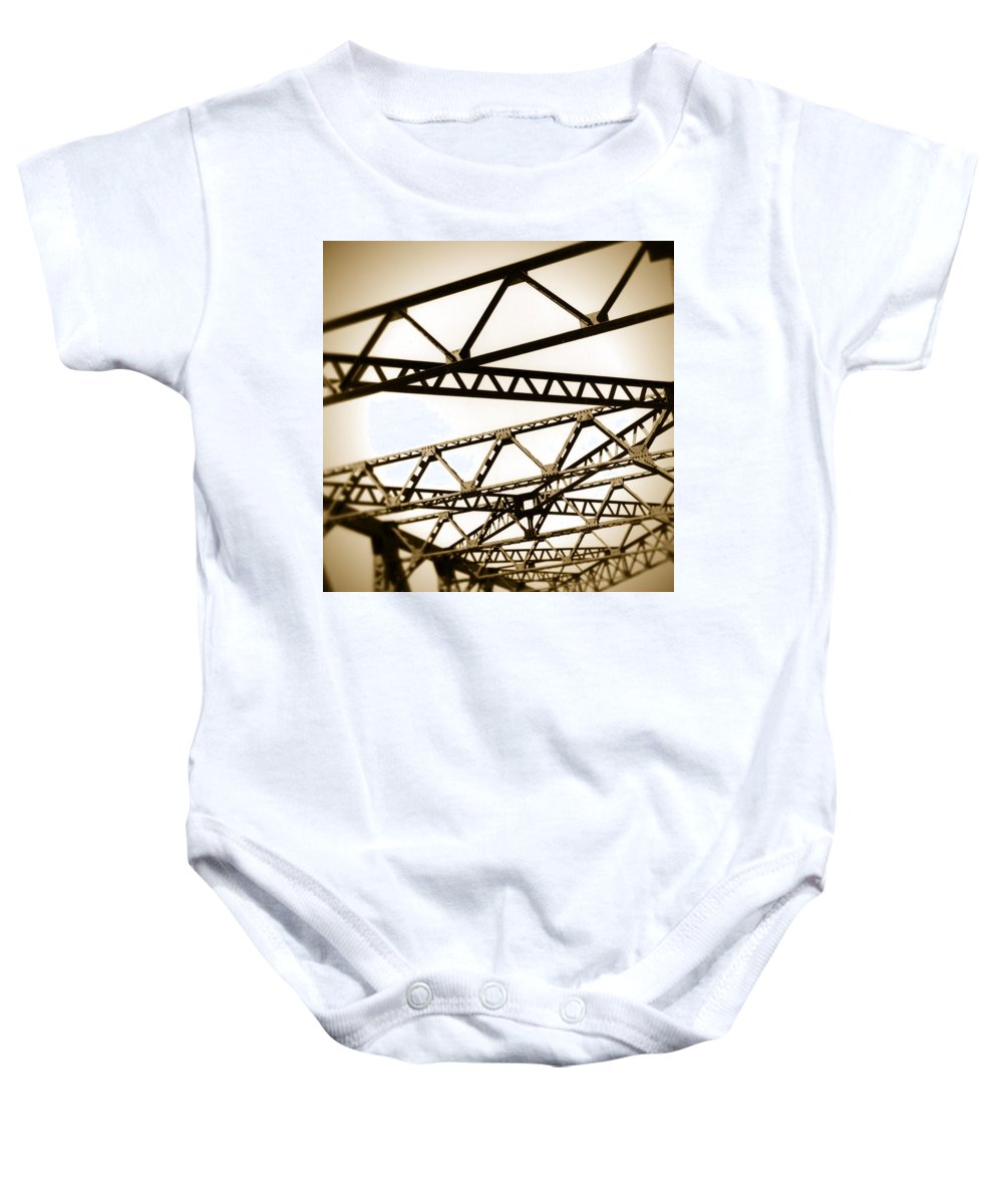 Steel Baby Onesie featuring the photograph Steel Lines by Timothy Bischoff
