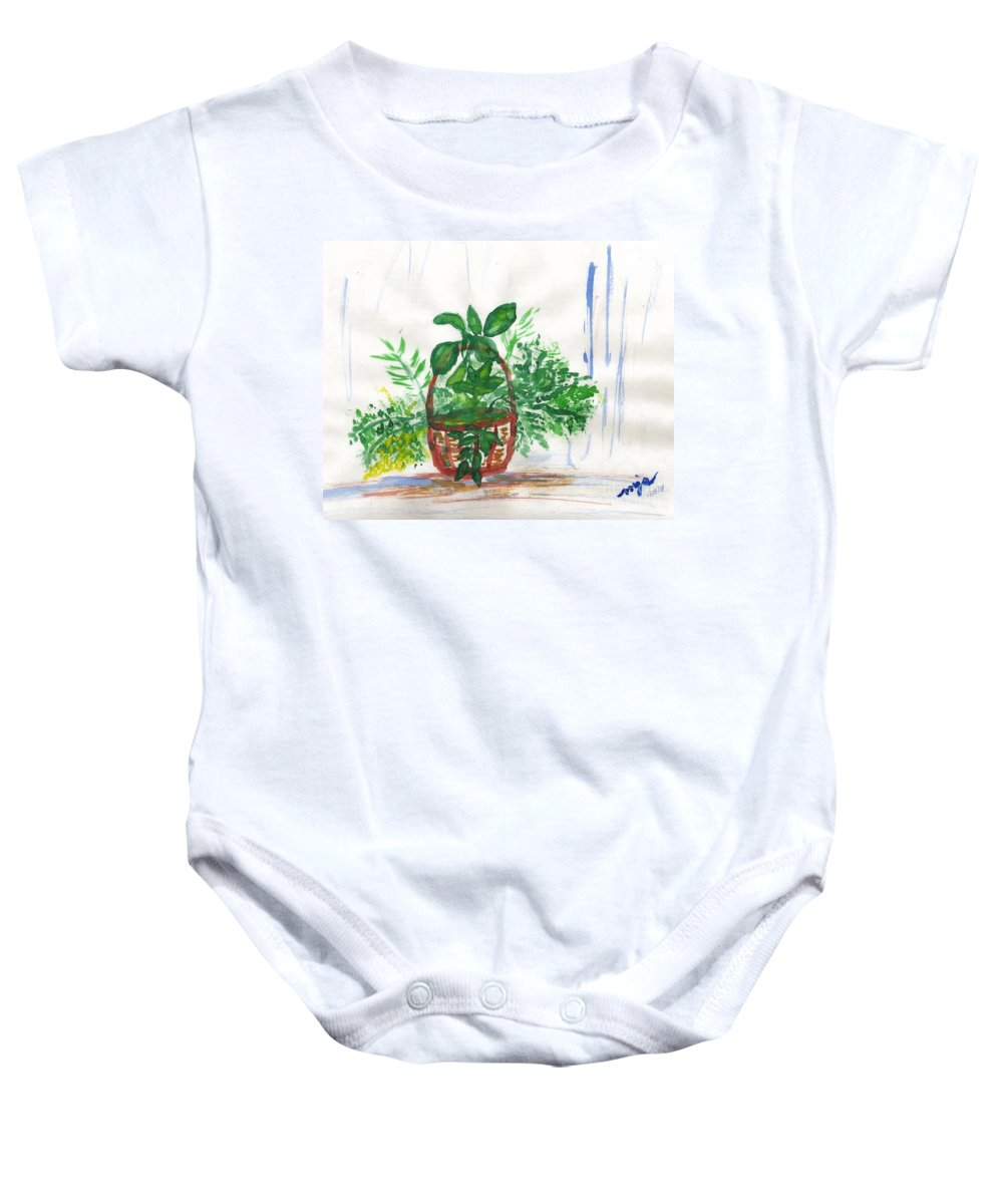 Still Life Baby Onesie featuring the painting Stephanie's Basket by Myrtle Joy