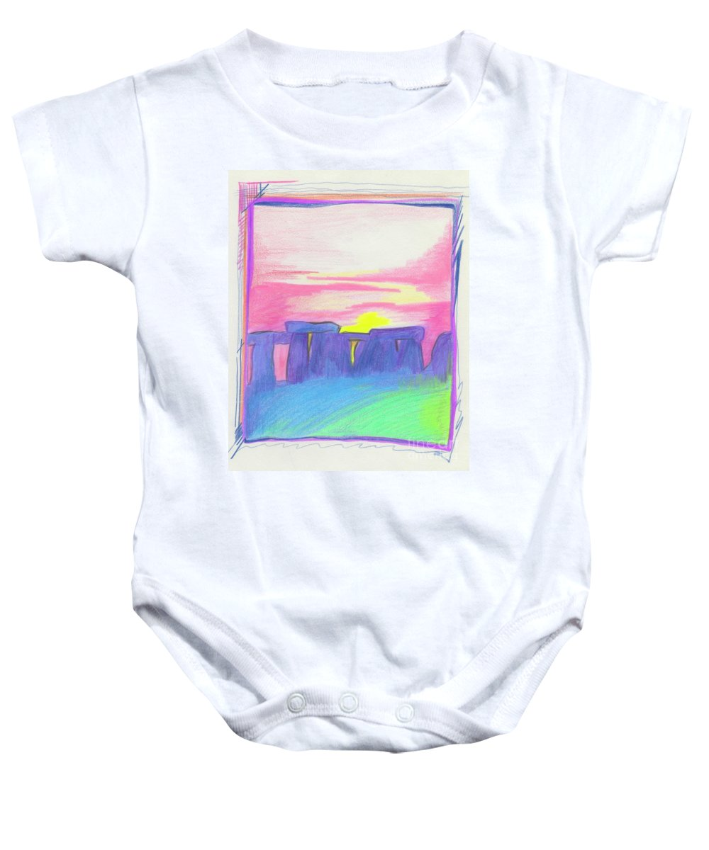 Stonehenge Baby Onesie featuring the drawing Stonehenge by First Star Art