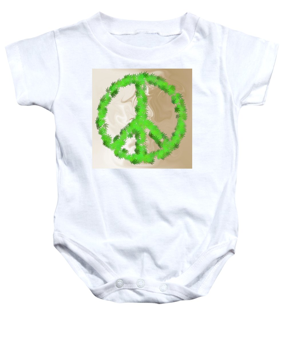 Peace Baby Onesie featuring the digital art Stop The War by Ron Hedges