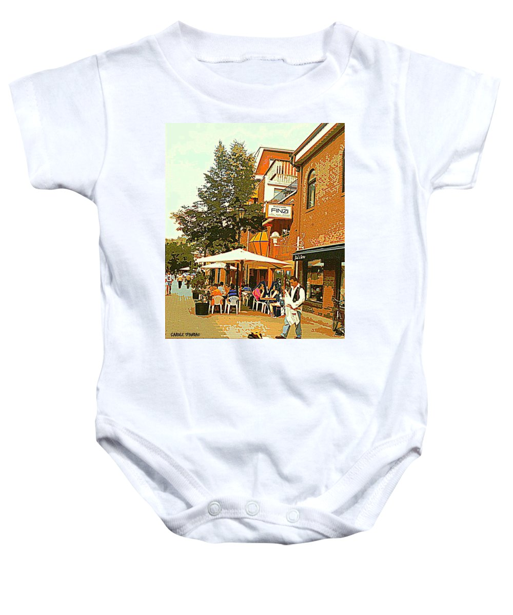 Cafes Baby Onesie featuring the painting Street Musician Serenades The Terrace Umbrella Crowd At Ristorante Finzi Italienne Cafe Scene by Carole Spandau