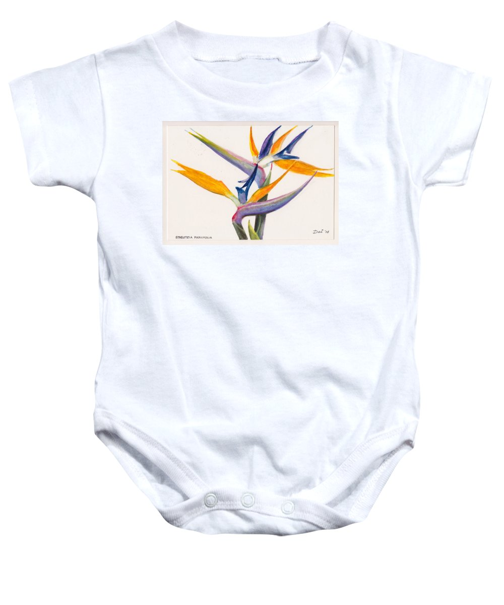 Floral Baby Onesie featuring the painting Strelitzia Flowers by Dai Wynn