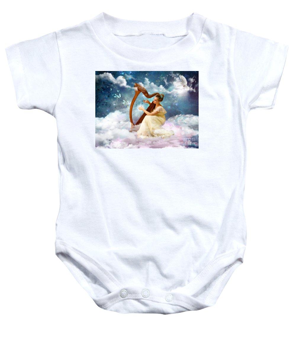 Harp Butterfly Heaven Dove Baby Onesie featuring the digital art Strings Of My Heart by Dolores Develde