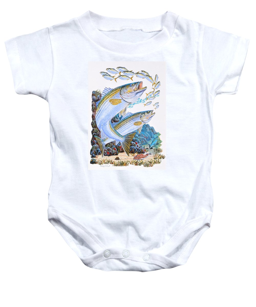 Striped Bass Baby Onesie featuring the painting Striped Bass Rocks by Carey Chen