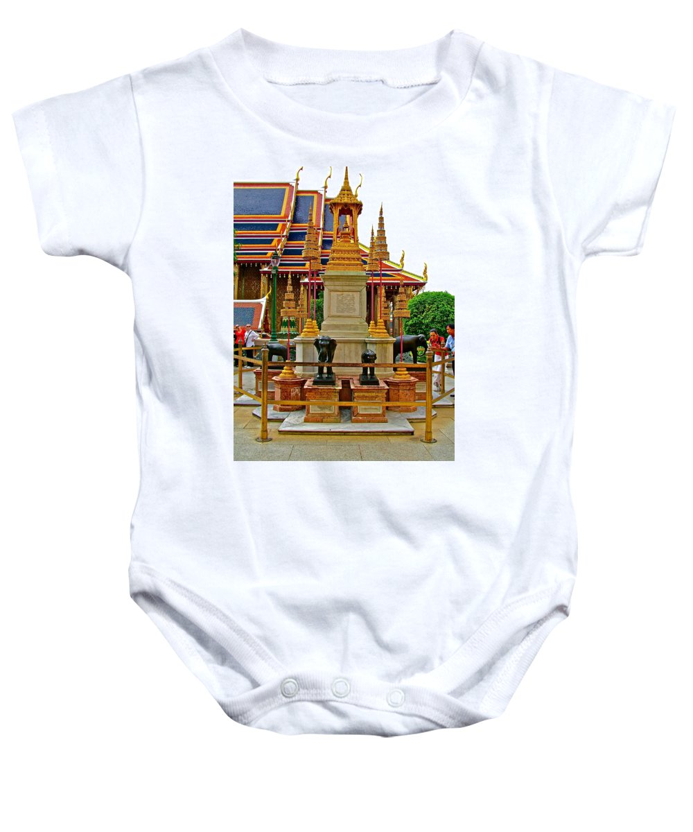 Stupa Surrounded By Elephants At Grand Palace Of Thailand In Bangkok Baby Onesie featuring the photograph Stupa Surrounded By Elephants At Grand Palace Of Thailand In Ban by Ruth Hager