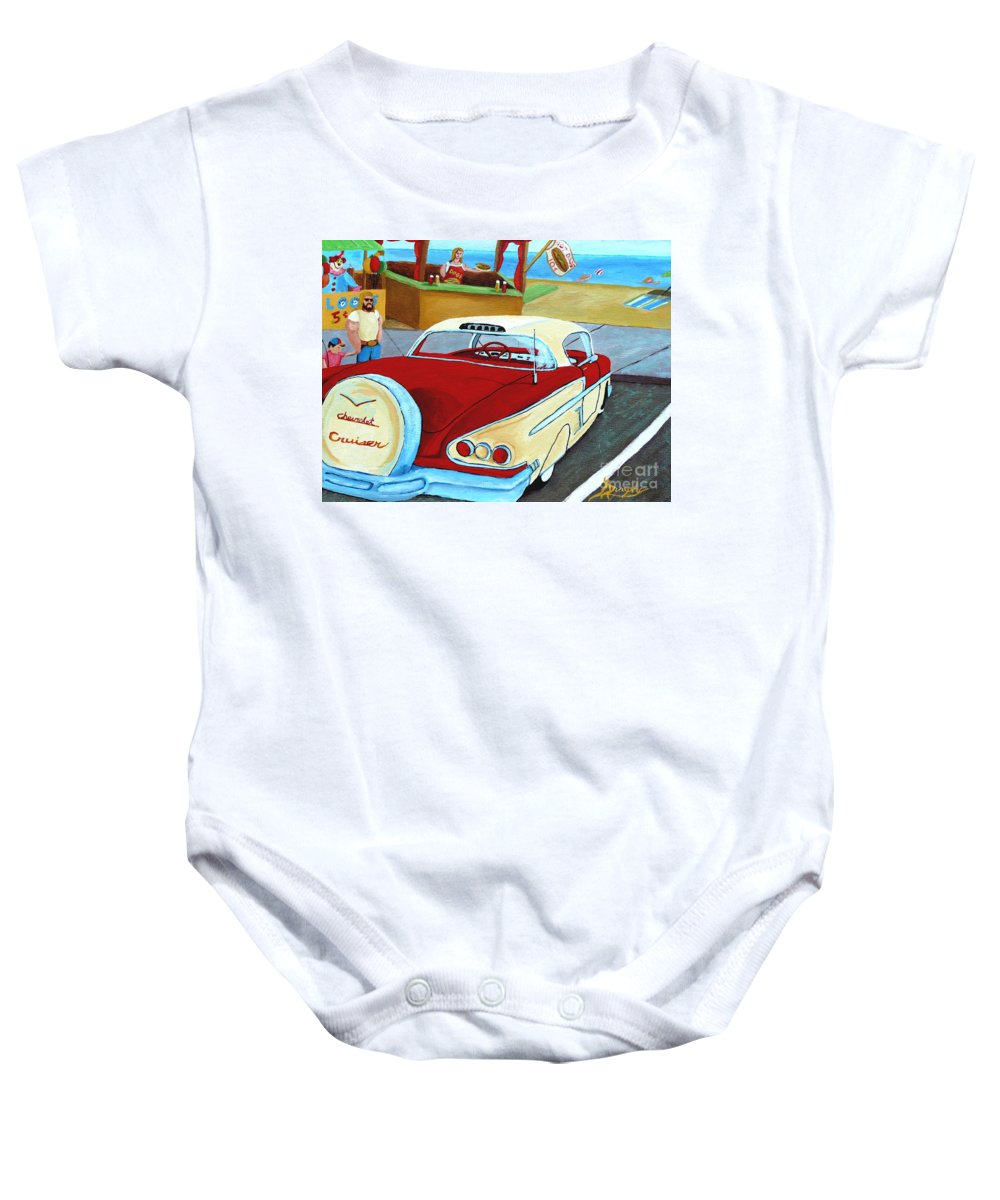 Beach Baby Onesie featuring the painting Cruising The Beach by Anthony Dunphy