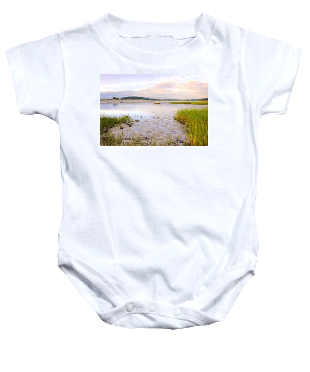 Sunrise Baby Onesie featuring the photograph Summer Sunrise At Little Neck by David Stone