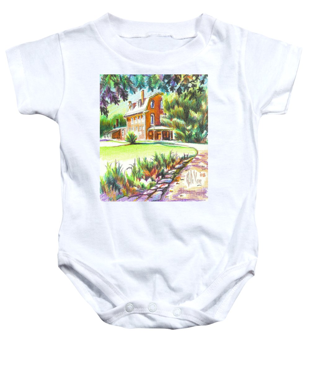 Summertime At Ursuline No C101 Baby Onesie featuring the painting Summertime At Ursuline No C101 by Kip DeVore