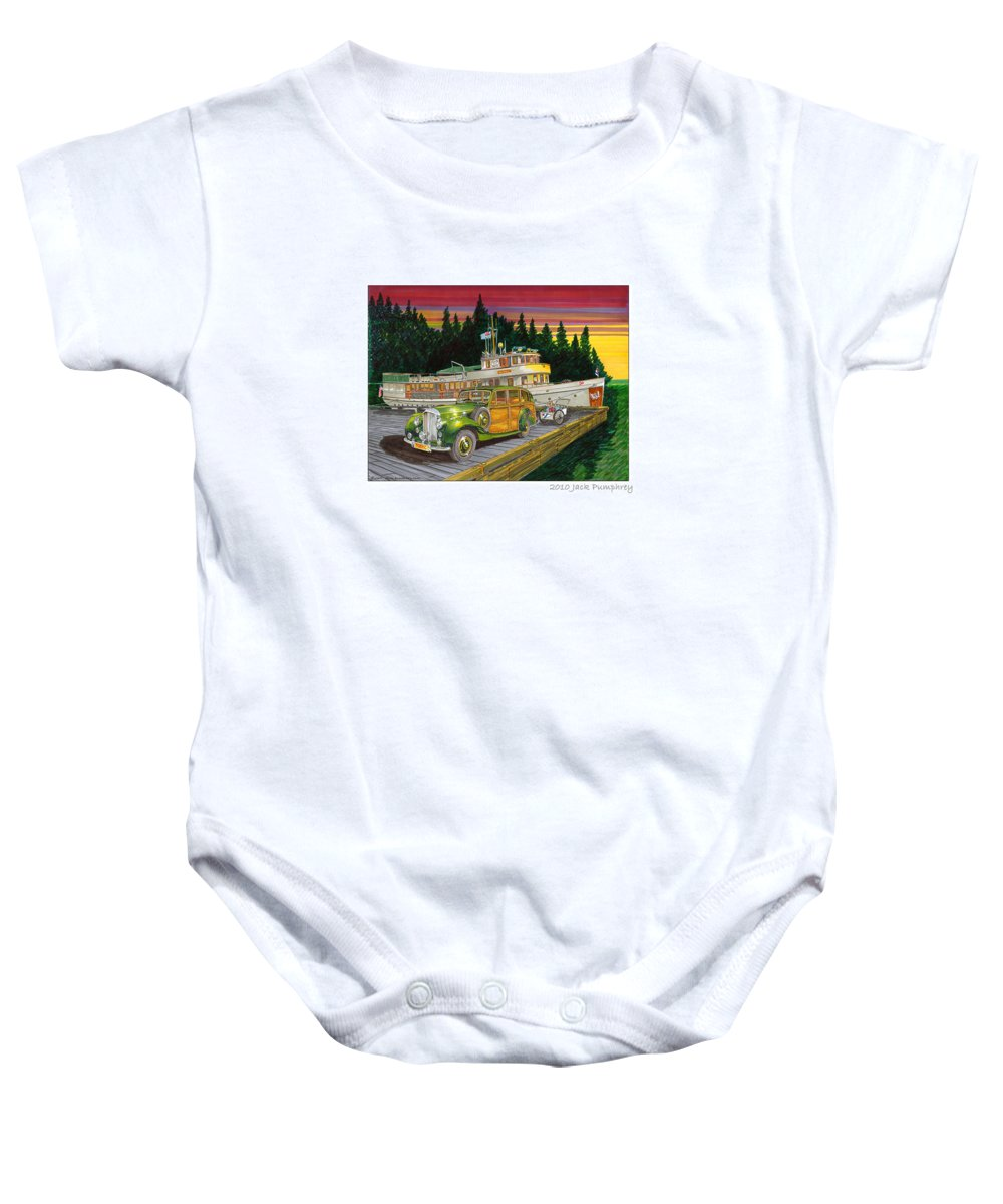 Image Of 1934 Bentley Shooting Brake On The Dock At The Seattle Yacht Club Port Madison Out Station Baby Onesie featuring the painting Port Madison Sunrise by Jack Pumphrey