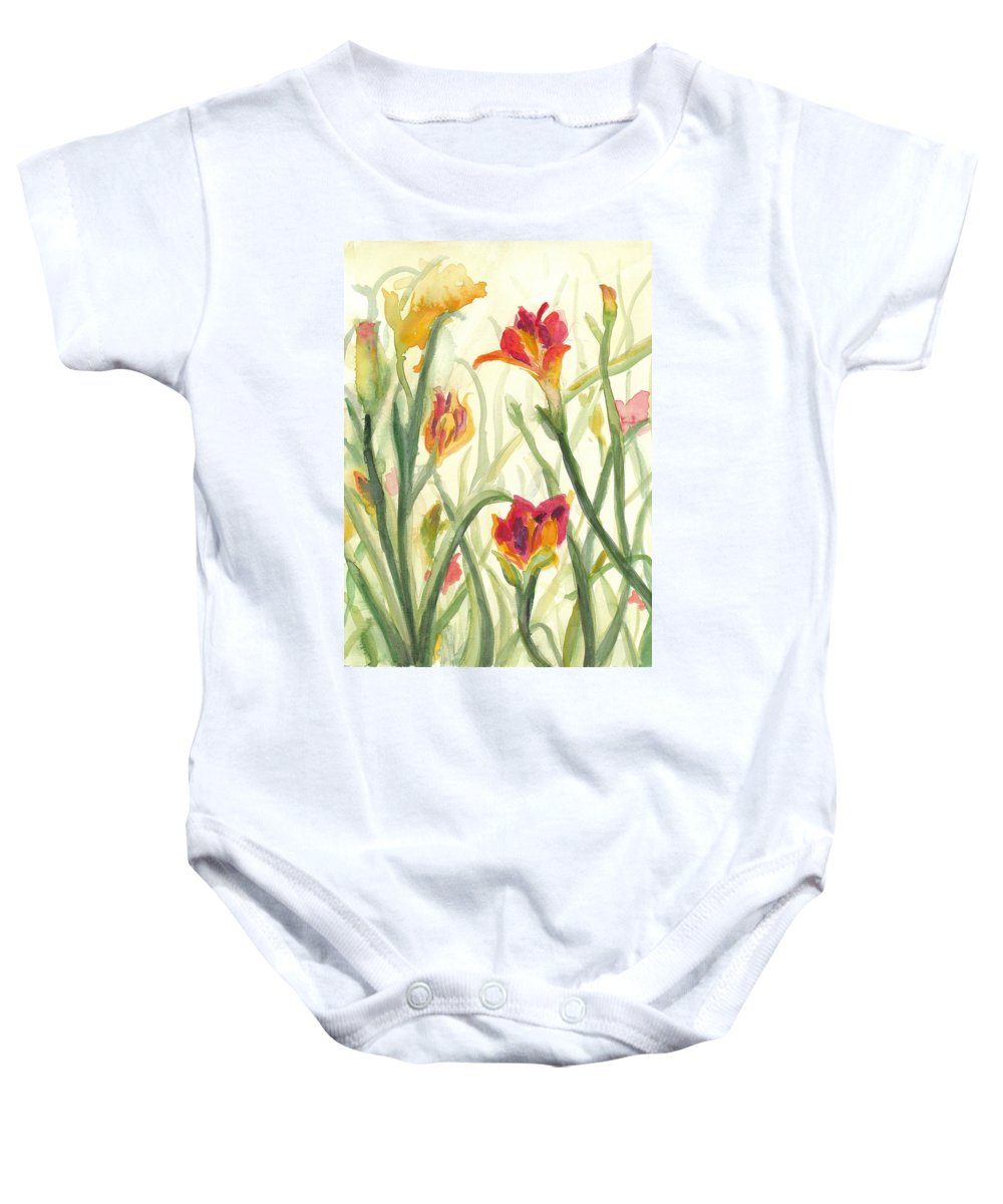 Flowers Baby Onesie featuring the painting Sunrise Flowers by Sheena Kohlmeyer