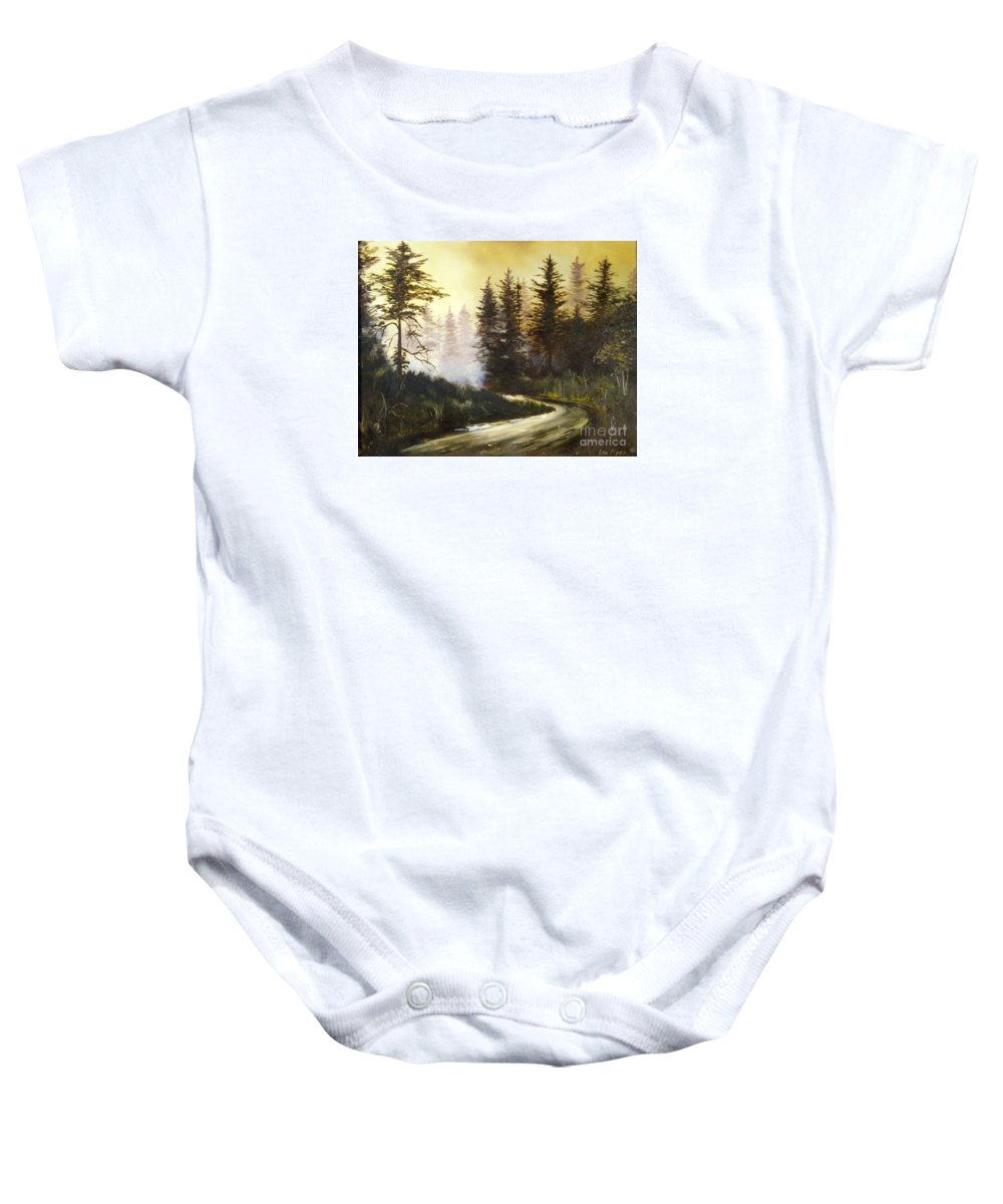 Nature Baby Onesie featuring the painting Sunrise In The Forest by Lee Piper