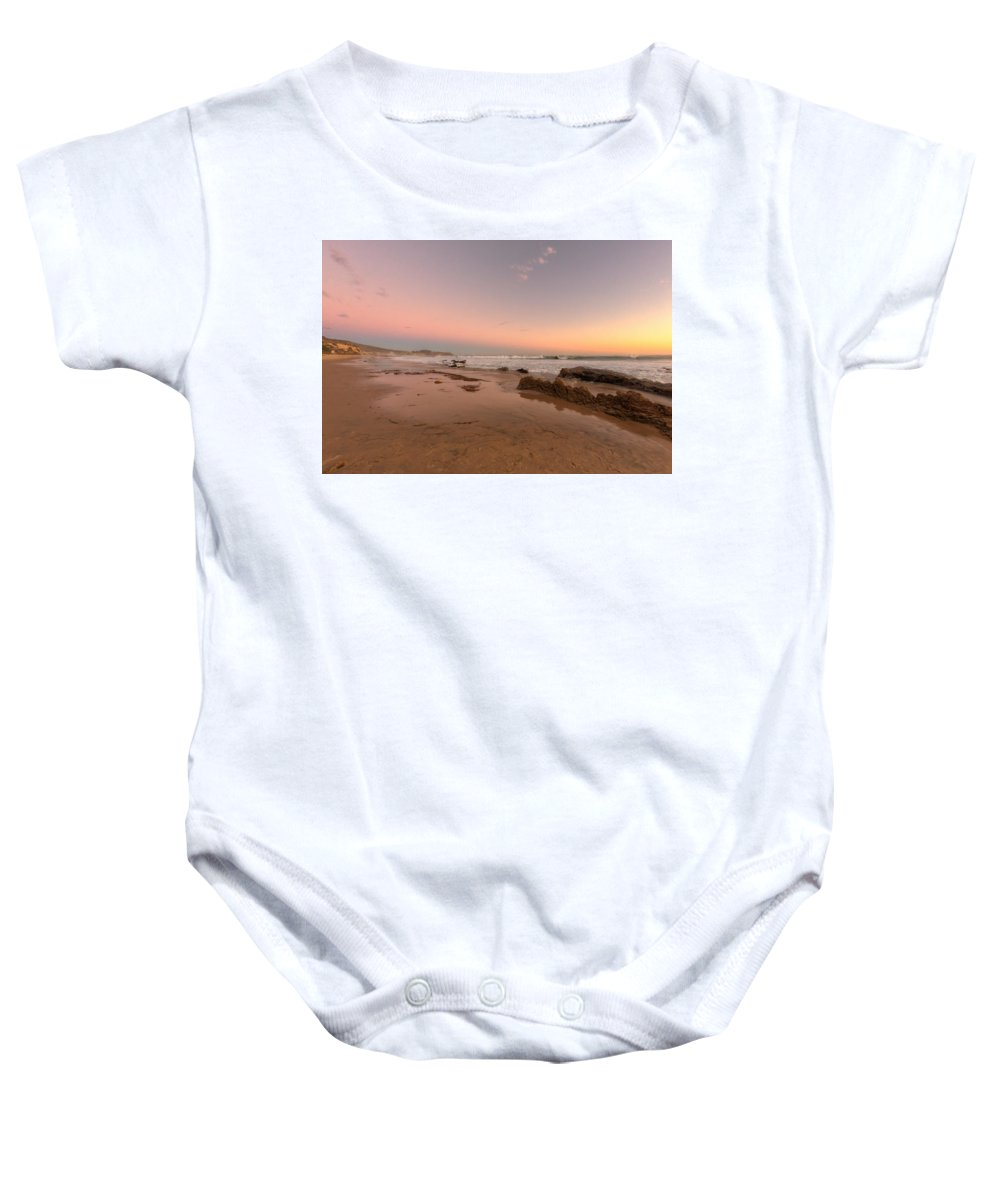 Crystal Cove Baby Onesie featuring the photograph Sunset At Crystal Cove Hdr by Angela Stanton