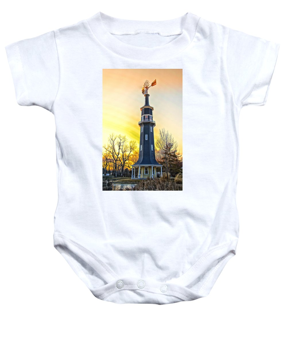 Windmill Baby Onesie featuring the photograph Sunset On The Dwight Windmill by Thomas Woolworth