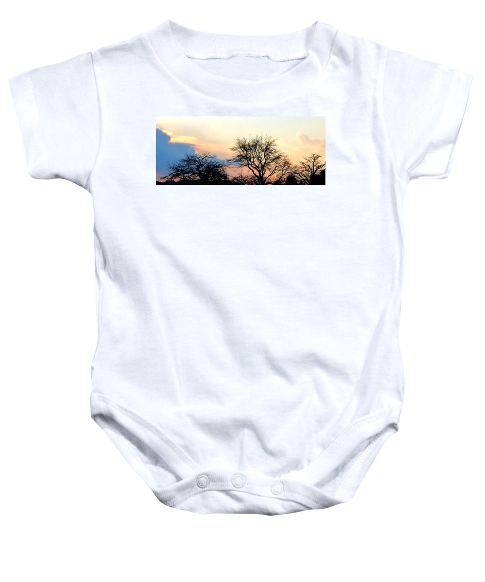 Sunset Baby Onesie featuring the photograph Sunset Tree Silhouettes by The Creative Minds Art and Photography
