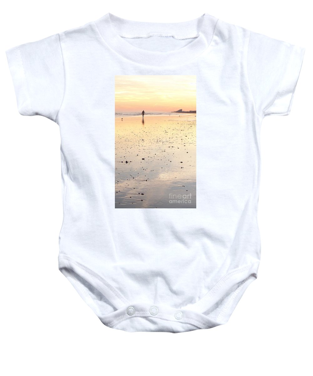 Surfing Baby Onesie featuring the photograph Surfing Sunset by Eric Schiabor