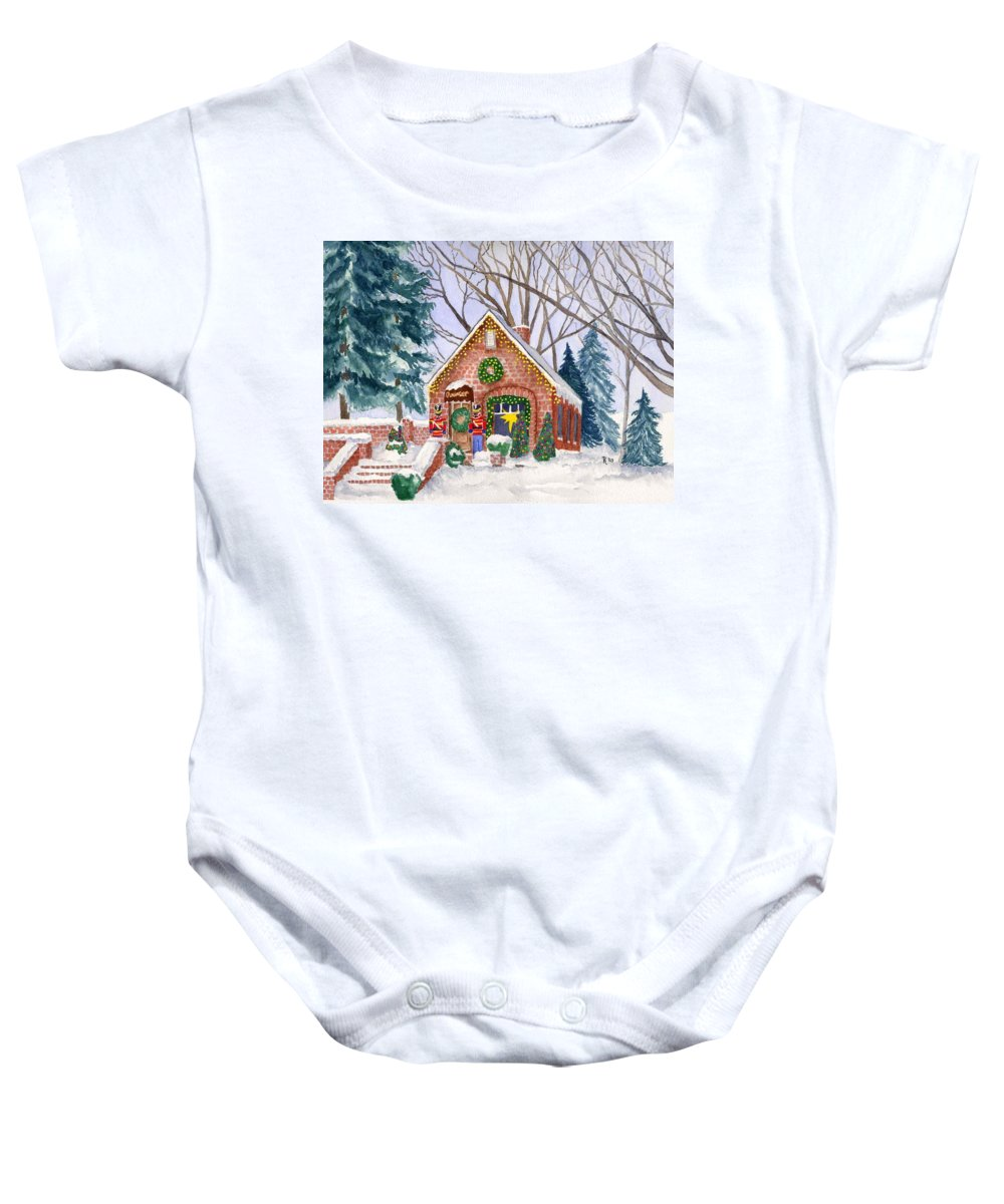 Winter Baby Onesie featuring the painting Sweet Pierre's Chocolate Shop by Rhonda Leonard