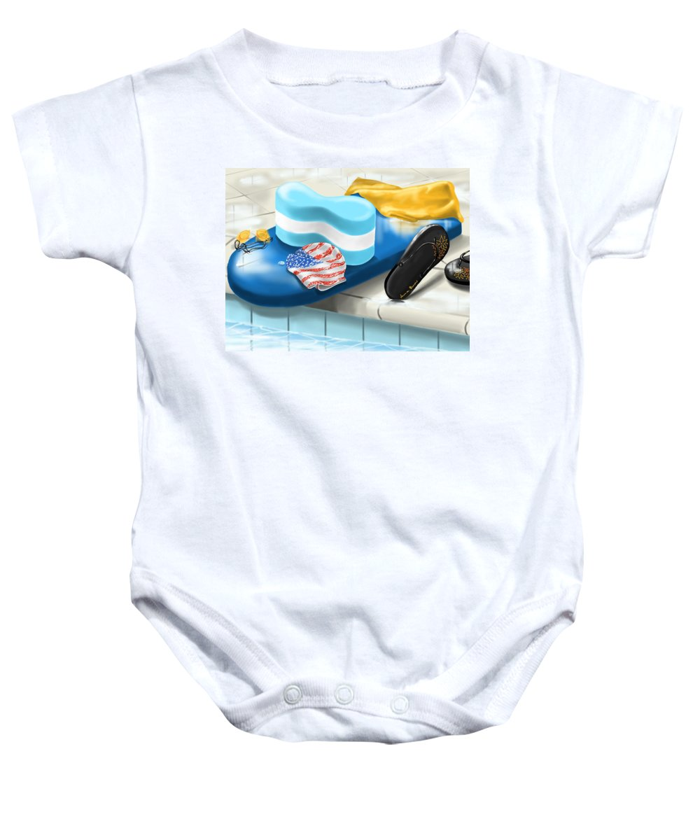 Digital Baby Onesie featuring the painting Swimming Pool by Veronica Minozzi