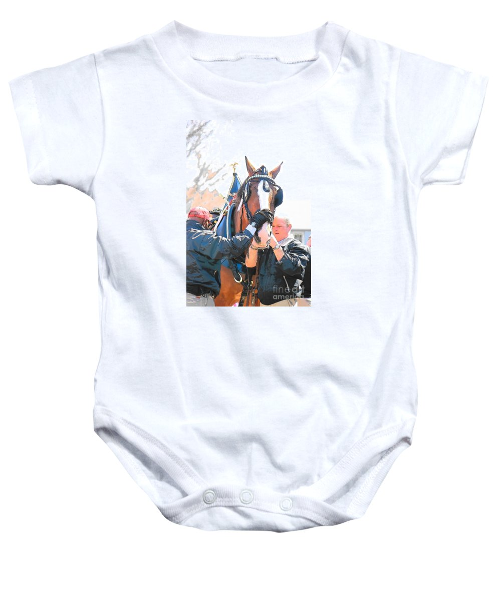 Budweiser Clydesdales Baby Onesie featuring the photograph Tacking Up by Amy Porter