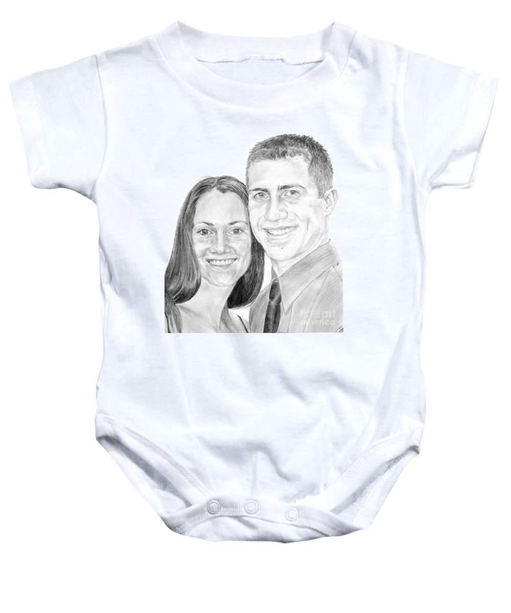 Love Baby Onesie featuring the drawing Tamir And Sarah by Tamir Barkan