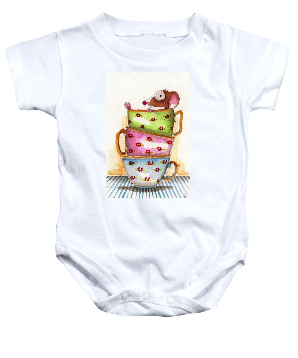 Whimsical Tea Cups Baby Onesie featuring the painting Tea For One by Lucia Stewart