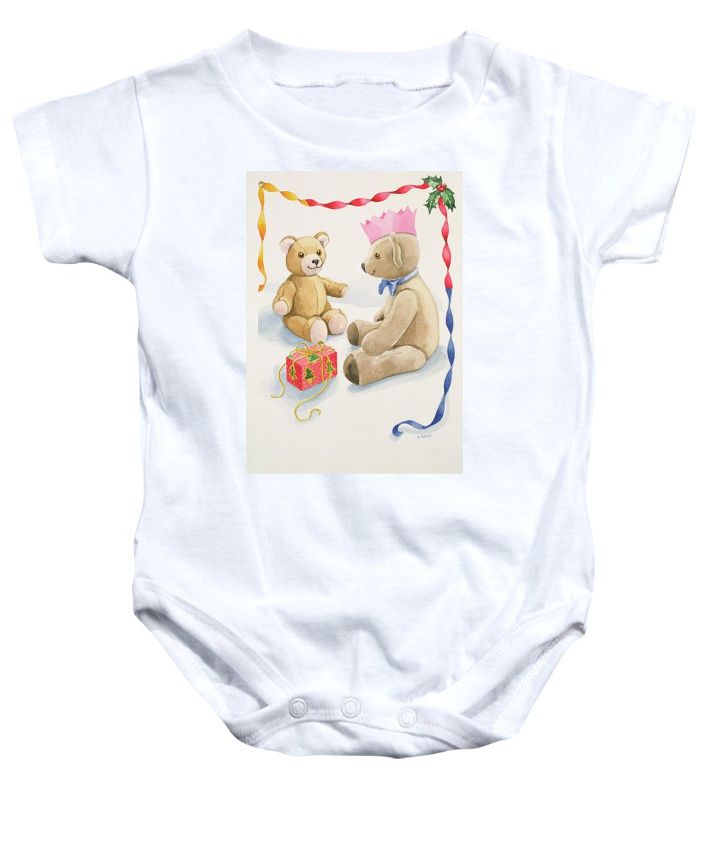 Bear Baby Onesie featuring the painting Teddy Bears Parcel by Lavinia Hamer