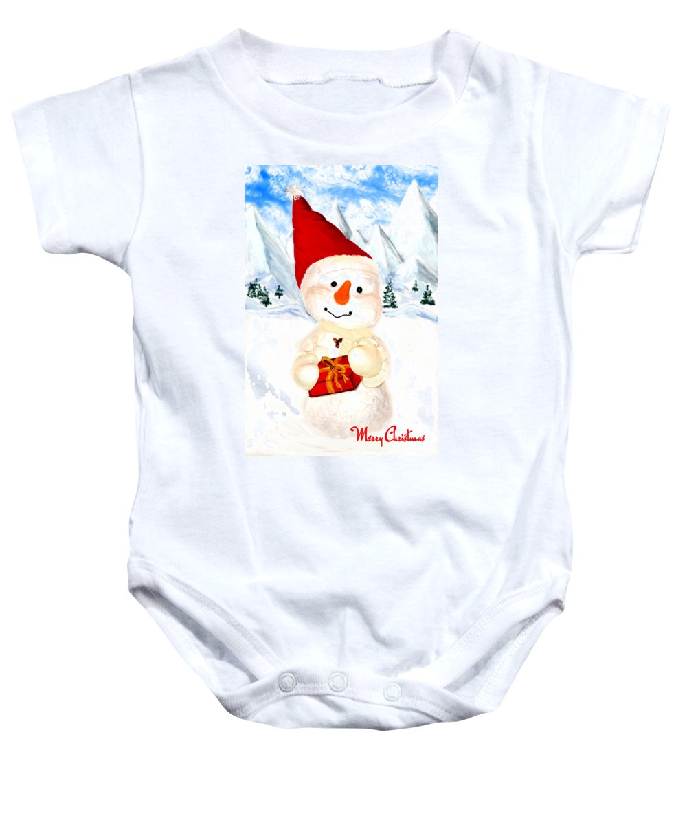 Christmas Baby Onesie featuring the painting Tender Snowman by Gina Dsgn