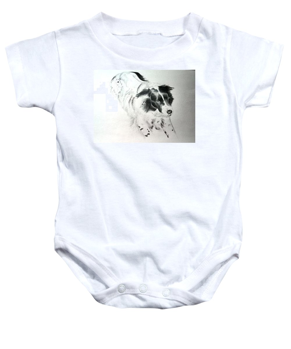 Professional Pet Portrait Artist Baby Onesie featuring the drawing Tess by Joette Snyder