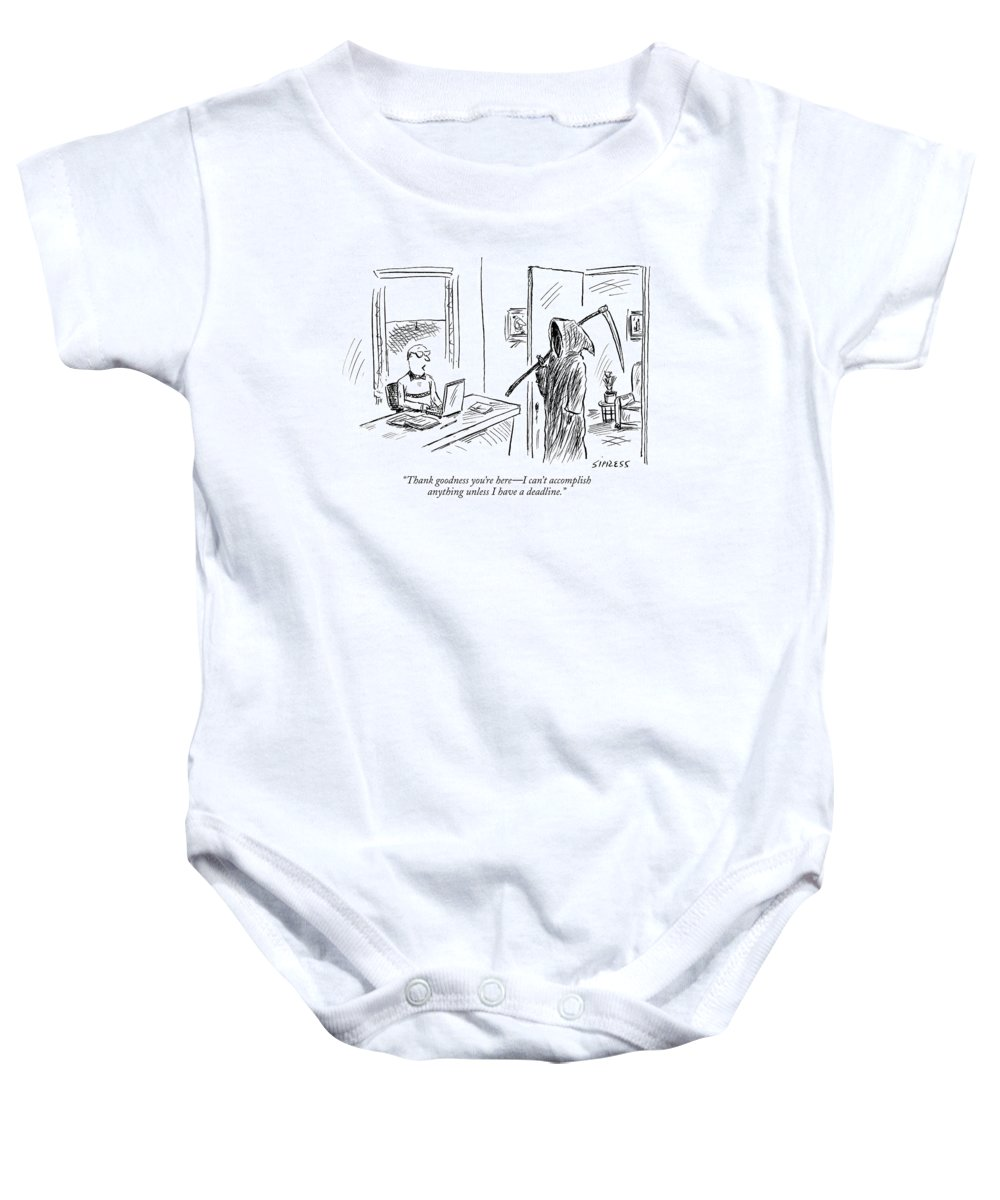 Grim Reaper Writers Death Motivation  (man At Computer Talking To Grim Reaper.) 120214 Dsi David Sipress Baby Onesie featuring the drawing Thank Goodness You're Here - I Can't Accomplish by David Sipress