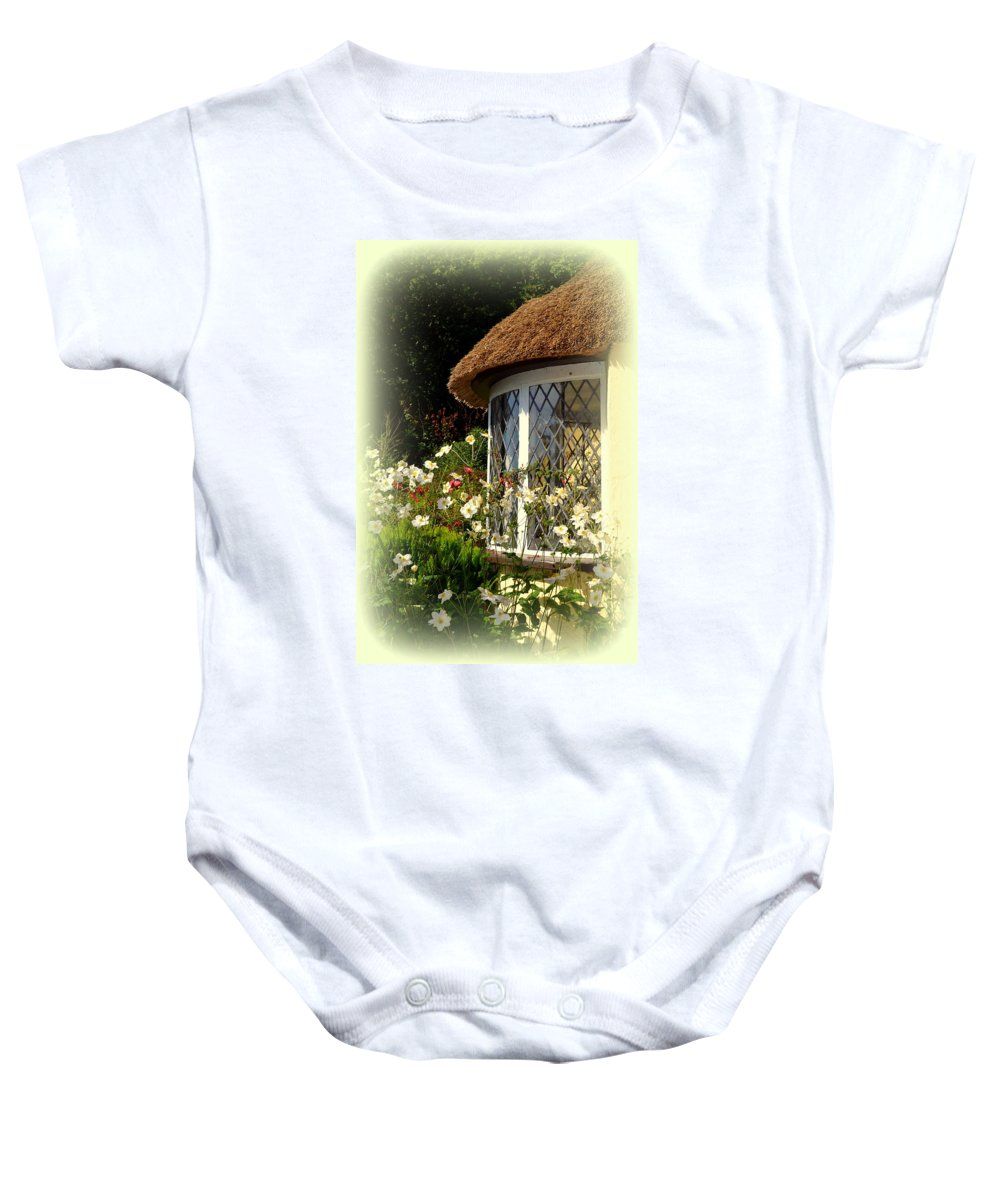 Selworthy Baby Onesie featuring the photograph Thatched Cottage Window by Carla Parris
