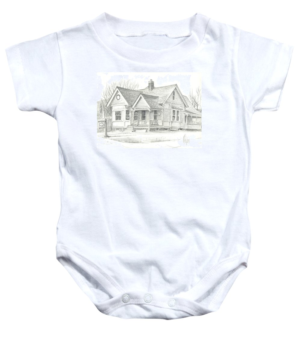 The Antique Shop Baby Onesie featuring the drawing The Antique Shop by Kip DeVore