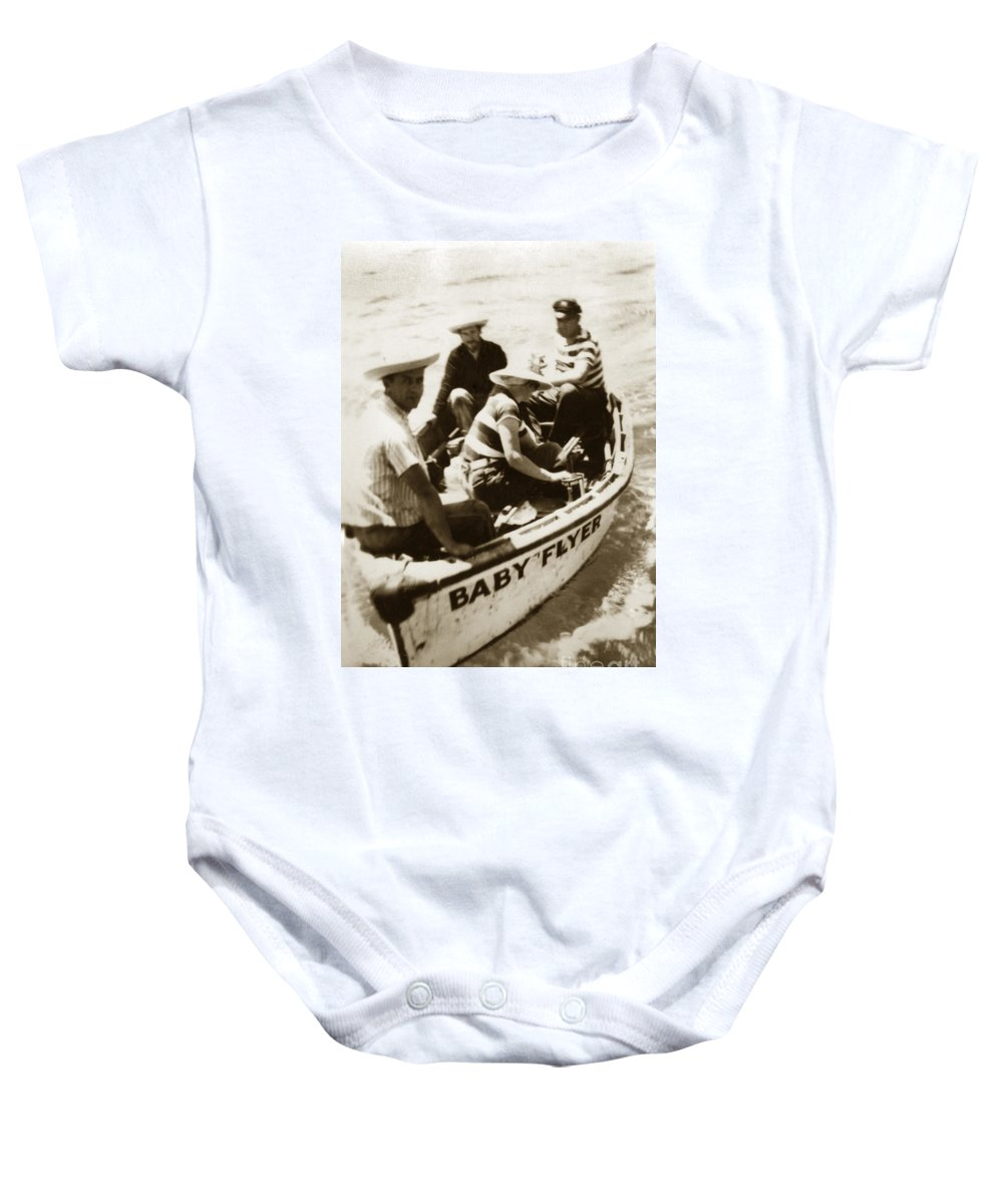 Baby Flyer Baby Onesie featuring the photograph The Baby Flyer With Ed Ricketts And John Steinbeck In Sea Of Cortez 1940 by California Views Mr Pat Hathaway Archives
