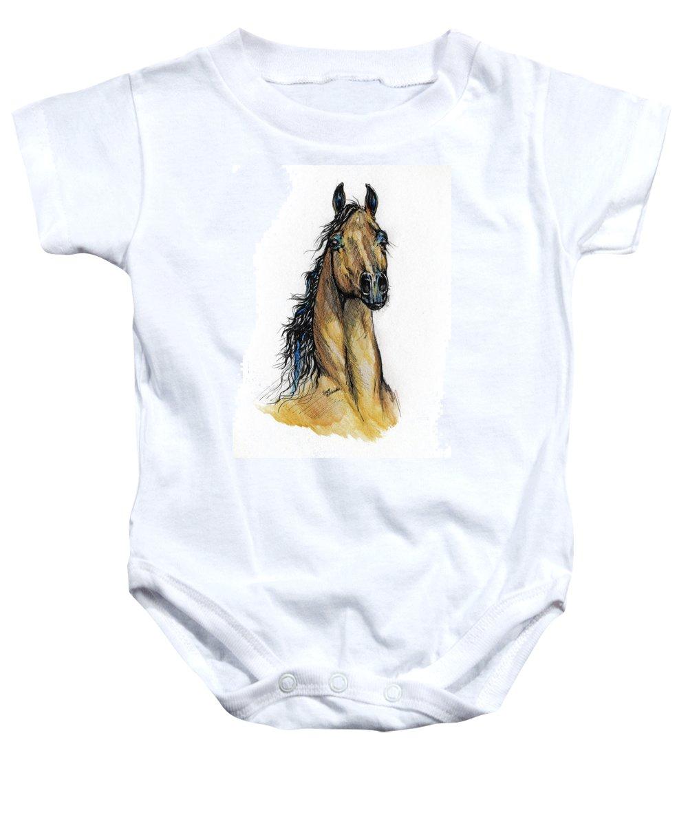 Arab Baby Onesie featuring the painting The Bay Arabian Horse 13 by Angel Ciesniarska