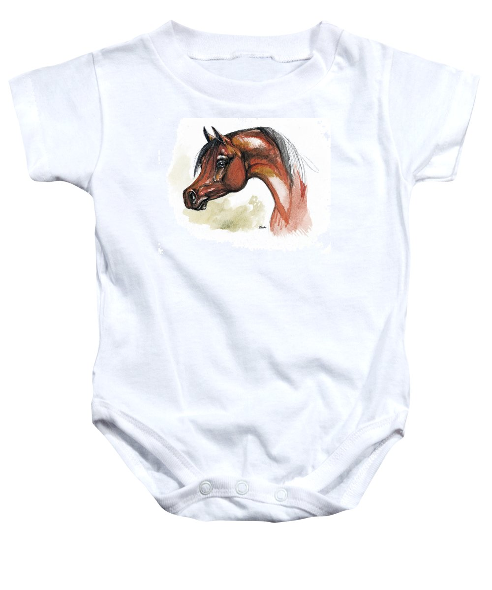 Arab Baby Onesie featuring the painting The Bay Arabian Horse 15 by Angel Tarantella